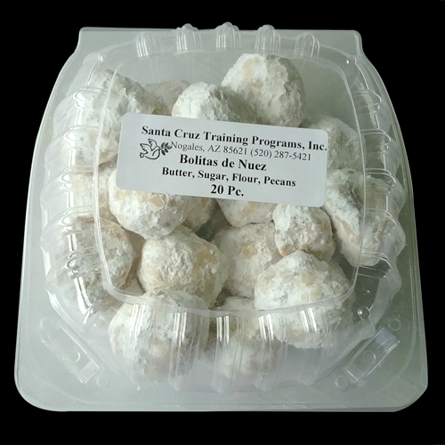 Our pecan cookies, or Mexican wedding cookies, are light and delicately covered in powdered sugar. We sell them individually or in a box of 20.