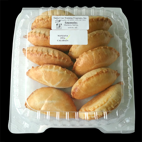Our large turnovers, or empanadas, are baked a golden flaky crust and then stuffed with fresh fillings. We have three fillings to choose from: pineapple, apple, or pumpkin.  We sell them individually or in a box of 10.