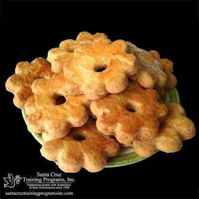 Orange Cookies shaped like flowers